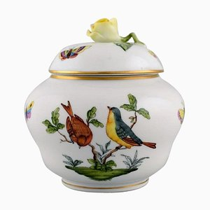 Lidded Porcelain Rothschild Bird Vase with Hand-Painted Avian Decoration from Herend