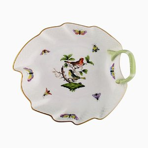 Leaf-Shaped Porcelain Rothschild Bird Dish with Hand-Painted Avian Decoration from Herend