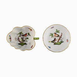 Porcelain Rothschild Bird Butter Pad and Small Bowl with Handle from Herend, Set of 2