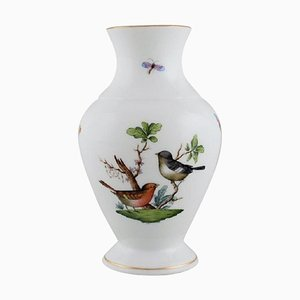 Porcelain Rothschild Bird Vase with Hand-Painted Avian & Butterfly Decoration from Herend