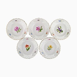 Antique Plates in Openwork Porcelain with Hand-Painted Flowers from Meissen, Set of 5