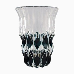 Belgian Art Deco Vase in Mouth-Blown Crystal Glass from Val St. Lambert