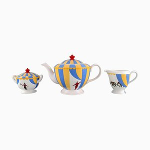 Porcelain Circus Tea Service of Teapot, Cream Jug and Sugar Bowl from Hermès, Set of 3