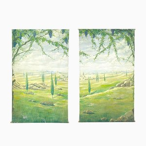 Handmade 2-Panel Diptych Tapestry of Tuscany Landscape