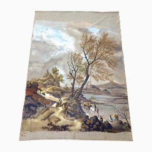 Antique Handmade Tapestry of Landscape, 17th Century