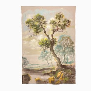 Antique Handmade Tapestry of Landscape with Tree, 17th Century