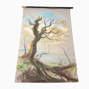 Antique Handmade Tapestry of Landscape with Dead Tree, 17th Century