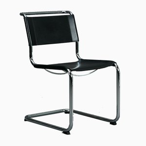 Black Leather S33 Chair from Thonet