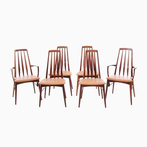 Mid-Century Scandinavian Model Eva Danish Chairs and 2 Armchairs in Rio Rosewood by Niels Kofoed, Set of 4