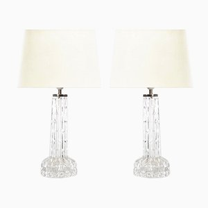 Mid-Century Scandinavian Crystal Table Lamps by Carl Fagerlund for Orrefors, Set of 2