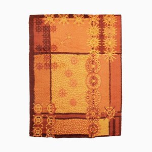 Rya Rug in Wool With Yellow Motifs
