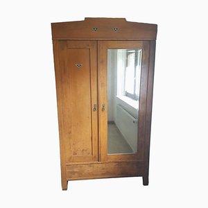 Wooden Bedroom Closet with Mirror