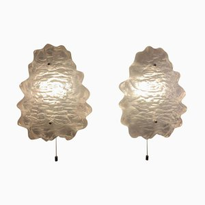 Wandleuchten aus Eisglas, 1960er, 2er Set