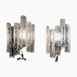 Iced Glass Wall Sconces, 1960s, Set of 2