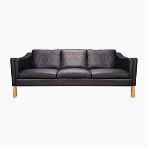 Mid-Century Danish Black Leather Mogensen Style Sofa, 1970s