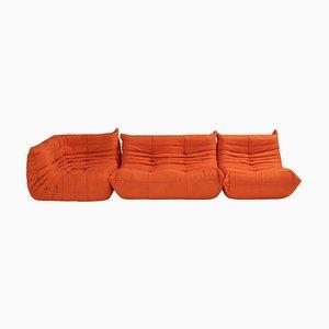 Togo Orange Modular Sofa by Michel Ducaroy for Ligne Roset, Set of 3