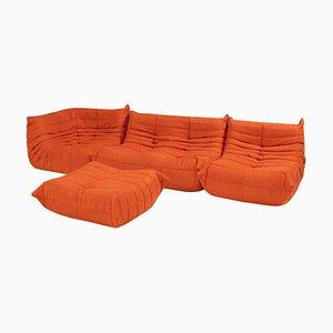 Togo Orange Modular Sofa and Footstool by Michel Ducaroy for Ligne Roset, Set of 4