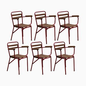 French Art Deco Patio Stacking Armchairs, Set of 6