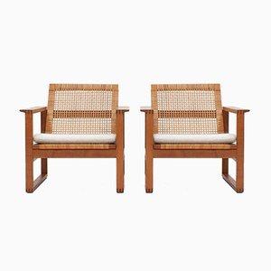 Cane 2256 Eiche Sled Sessel von Børge Mogensen für Fredericia Furniture Denmark, 1956, 2er Set