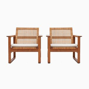 Cane 2256 Oak Sled Lounge Chairs by Børge Mogensen for Fredericia Furniture Denmark, 1956, Set of 2