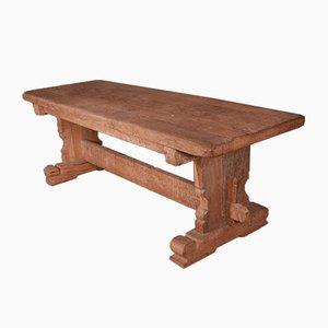 French Oak Trestle Table, 1890s