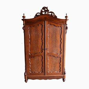 Antique Mahogany Biedermeier Crest Cabinet