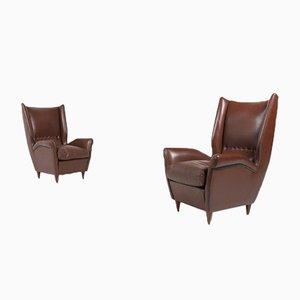 Italian Model 512 Wingback Lounge Armchairs by Gio Ponti, 1950s, Set of 2