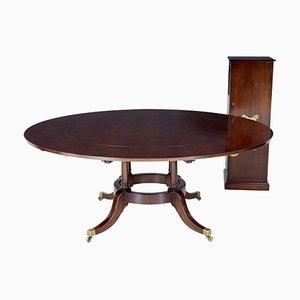 Late 20th Century Mahogany Jupe Dining Table with Leaf Cabinet