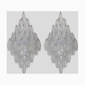 Large Wall Lights in Clear Colour Poliedri from Venini, Set of 2