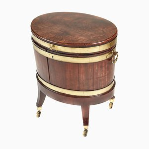 Antique George III Oval Mahogany Brass Bound Wine Cooler