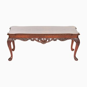 Antique Burr Walnut Carved Coffee Table