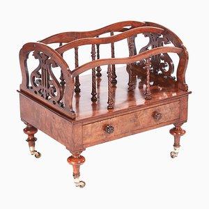Antique 19th Century Victorian Burr Walnut Canterbury