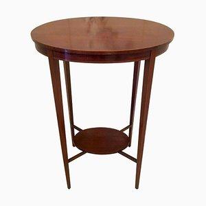 Antique Edwardian Inlaid Mahogany Oval Lamp Table