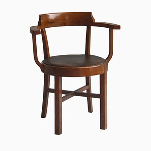 Early Modern Danish Cabinetmaker Captains Chair in Patinated Oak