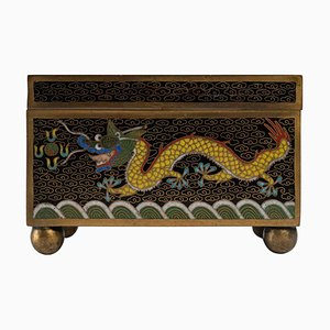 Metal Box Decorated with Cloisonne Enamels