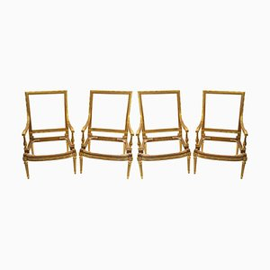 Carved and Gilded Wood Armchairs, Set of 4