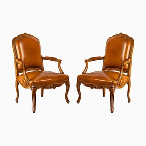 Louis XV Style Carved Beechwood Armchairs, Set of 2