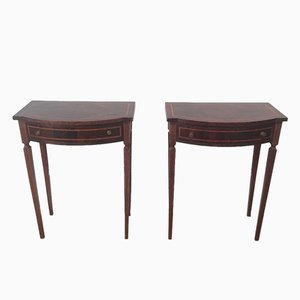 Wooden Console Drawer Tables, Set of 2