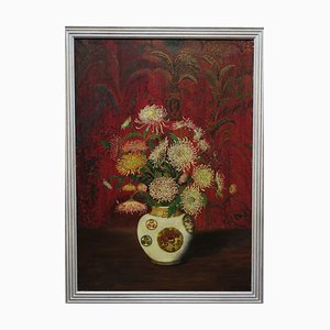 Chrysanthemums in Chinese Vase, Oil on Canvas, 1927