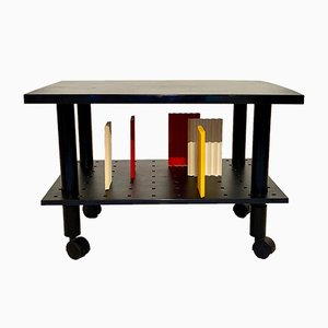Black Kartell Rolling Side Table, Italy, 1980s