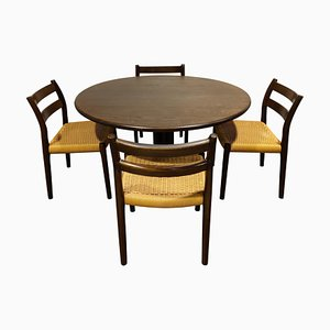 Model 84 Dining Chairs with Table by Niels Otto Moller, 1960s, Set of 5