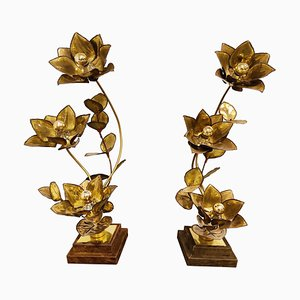 Maison Jansen Flower Lamps, 1970s, Set of 2
