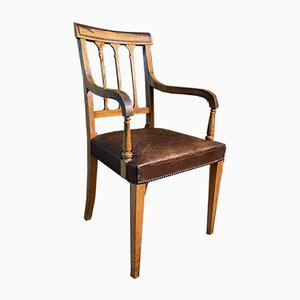 Antique Sheraton Revival Satin Wood Leather Chair