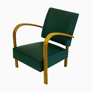 Italian Mid-Century Beech Lounge Chair with Green Leatherette