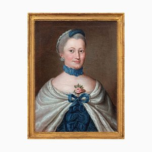 French School, Portrait of a Lady in Blue, 18th Century