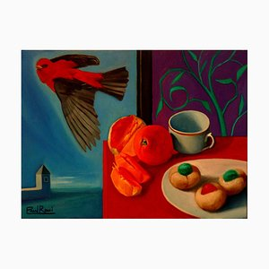 Paul Rossi, Breakfast with Bird, Contemporary Still Life Oil Painting, 2018