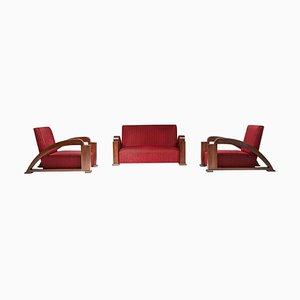 French Art Deco Living Room Set in Red Striped Velvet with Swoosh Armrests, Set of 3