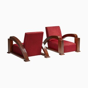 French Art Deco Lounge Chairs in Red Striped Velvet with Swoosh Armrests, Set of 2