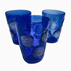 Vintage Italian Drinking Glasses in Cobalt Blue Murano Glass from Ribes Studio, Set of 6