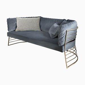 Faraday Sofa in Blue Velvet by Claudio Cappellini for Hessentia